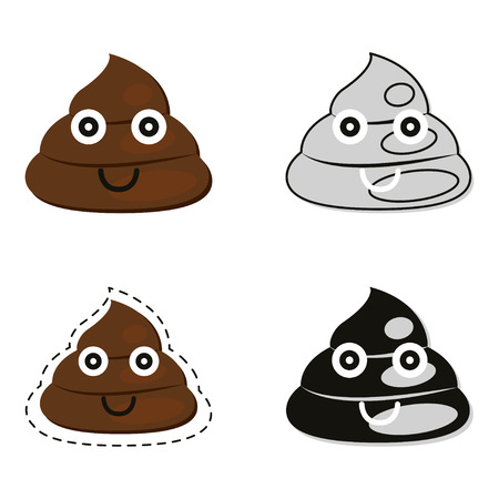 excrement: Cute poop set vector illustration. Illustration