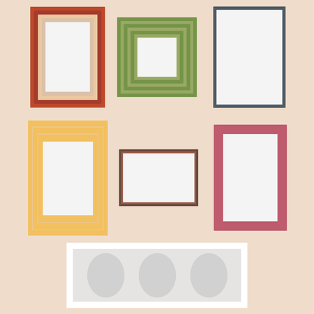 school: Photo frames set. Vintage Photo Picture Frame Template Icon Set Vector Illustration