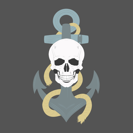 Skull and anchor - vector