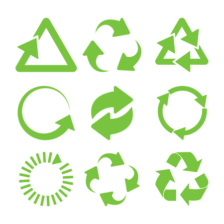 Green recycle icons