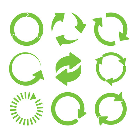 Green round recycle icons set - vector