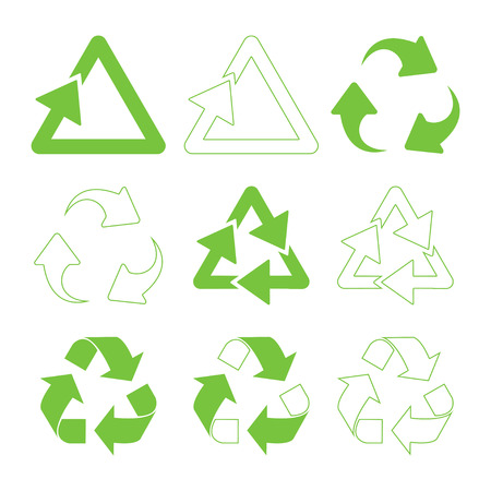 Green triangular recycle icons set - vector