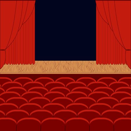 A theater stage with a red curtain - vector