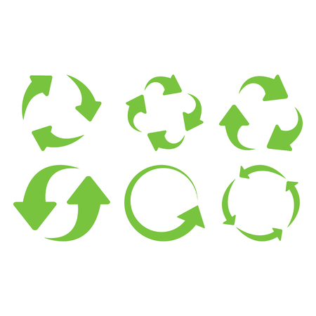 Green recycle icons set