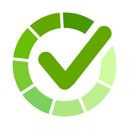 Green ñheck mark, tick hook signs in circle. Button for vote YES - vector
