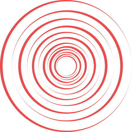 Red pain rings. Abstract spiral, ripple element - vector
