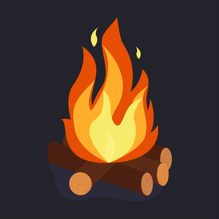 Bonfire and burning woodpile, campfire or fireplace on firewood