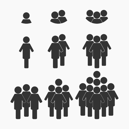 Black business team icon big set. Group of people - vector Vectores