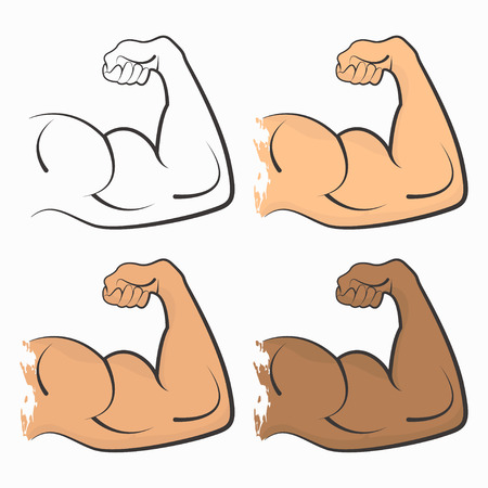 Strong power, muscle arms, color biceps set vector icon