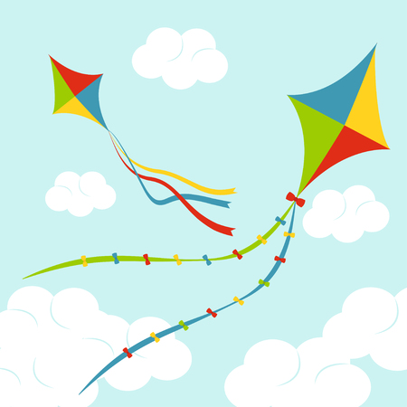 Fly color kites surfing in sky above the cloud. Vector set