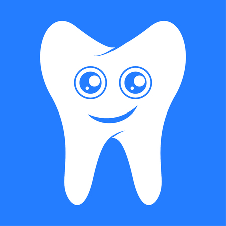 Smiling tooth, dental design. Vector