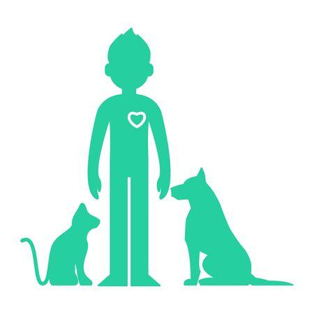 Animals help. Man love pets - vector