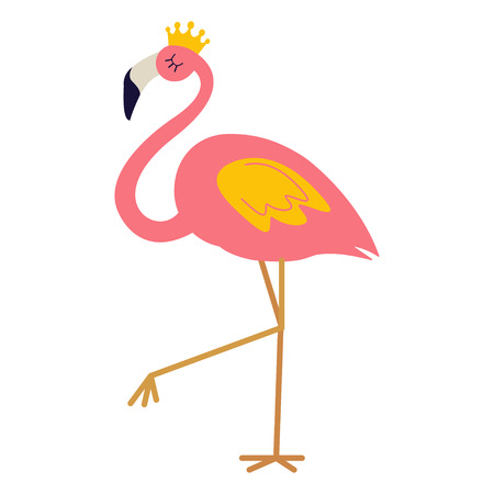 Pink flamingo with crown