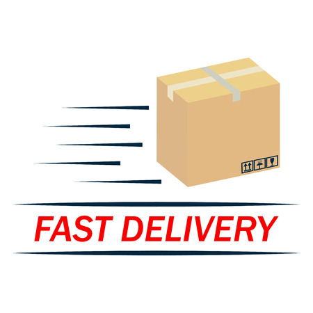 Fast delivery icon. Brown box packaging - vector illustration.