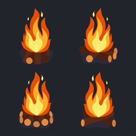 Bonfire and burning woodpile, campfire or fireplace on firewood. Camping set vector