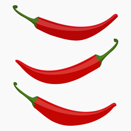 Red hot chili pepper set vector illustration