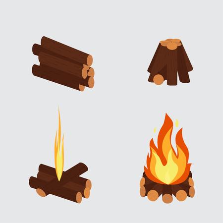 Bonfire and burning woodpile vector Illustration