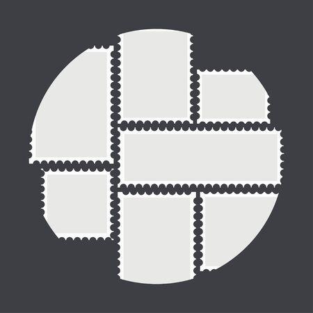 Blank mailing postal sticker template in different size stamps set Vector illustration. Illustration