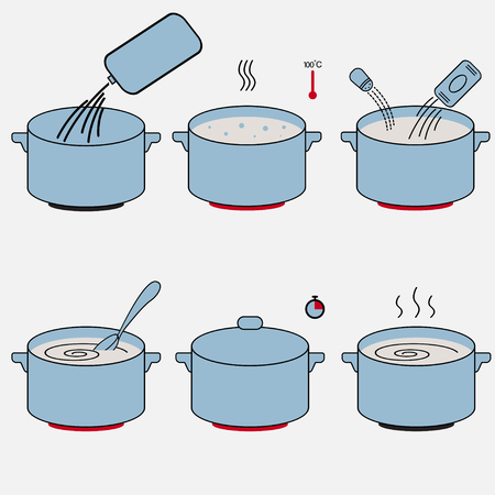 Steps how to cook food. Spaghetti or porridge preparation illustration vector design Stock Illustratie