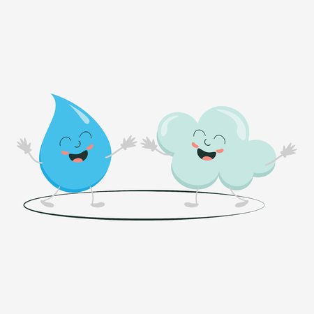 Cute cloud and raindrop vector design icon