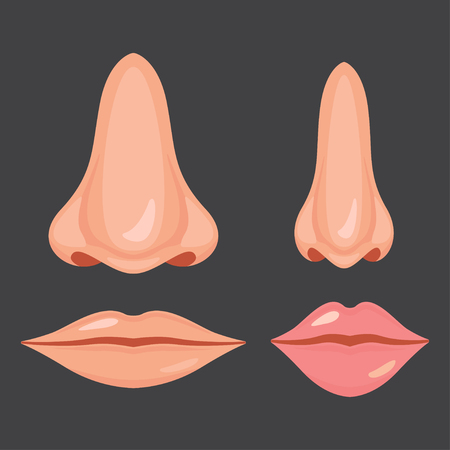 Human nose and mouth, Vector illustration design set icon Ilustrace
