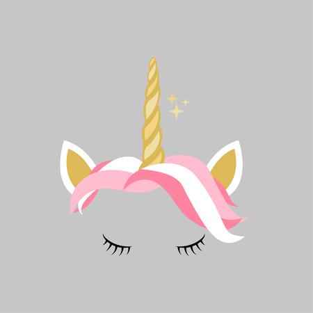 Cute pink gold unicorn design icon vector 版權商用圖片