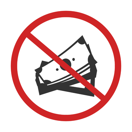 no money. sign of caution dont use money vector