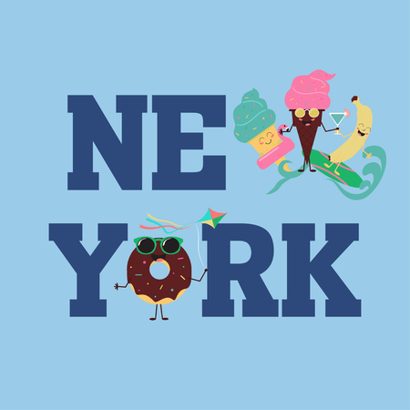 New York Brooklyn Sport wear typography emblem, t-shirt  print, athletic apparel design vector illustration team Summer sweets. Color ice cream and fruit Ilustração