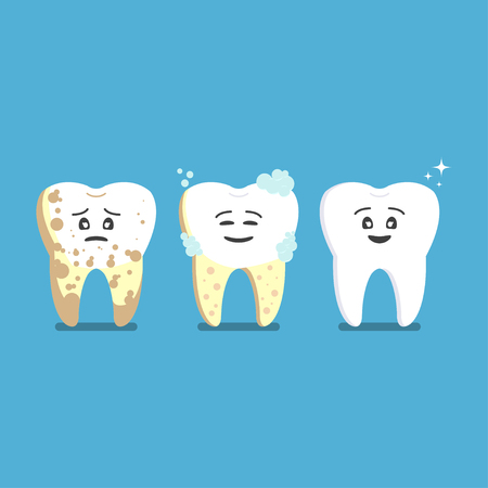 Design Ill tooth gets treatment, becomes healthy, shiny. Dental protection and care vector Standard-Bild - 115306727