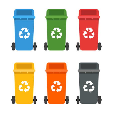 Colorful set. Garbage cans. Ecology and recycling concept