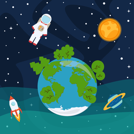 Astronaut, planets and stars, rocket ship in space vector Çizim