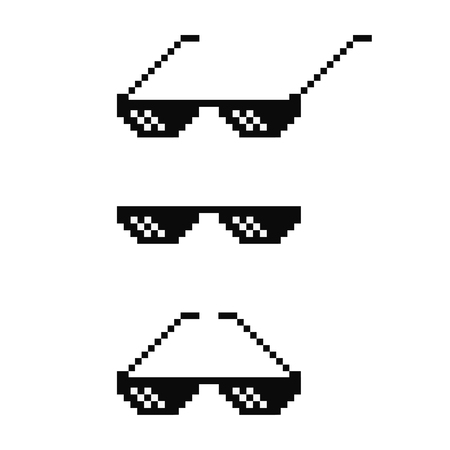 Black pixel art glasses set. Meme sunglasses vector design Çizim