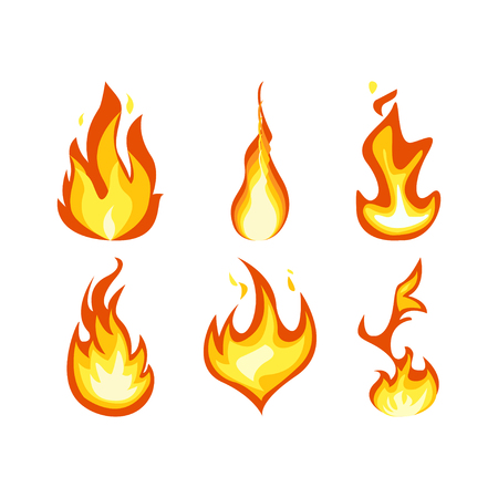 Fire light effect, flames set design vector