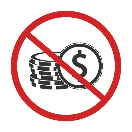 No money. No Cash. Red prohibition sign. Stop symbol vector Çizim