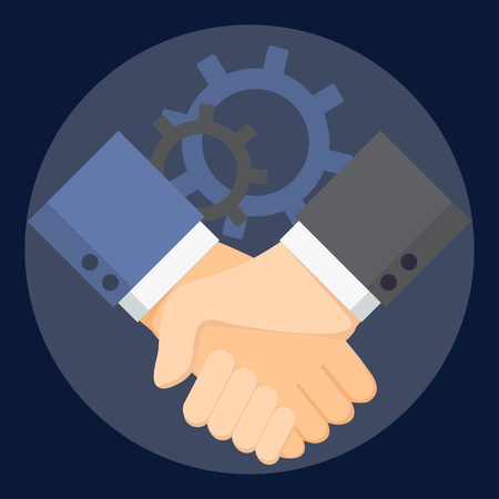 Business man handshake. Partnership, effective and beneficial cooperation, deal making, agreement of parties concept vector