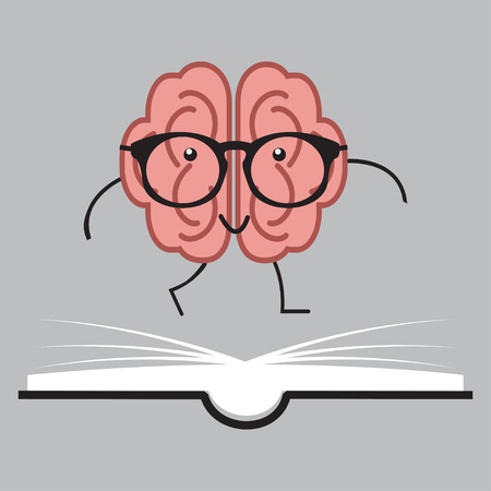 Brain with glasses and book, human vector design Çizim