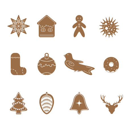 Cartoon Cookies Christmas gingerbread set icon design vector illustration