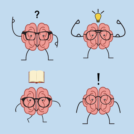 Brain cartoon set with glasses, book, dumbbells, light bulb human train intellect, knowledge, education and Brainstorm concept. Vector