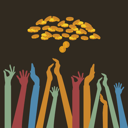 Hands up Colors, Voting hand Raised up, business money concept vector Çizim