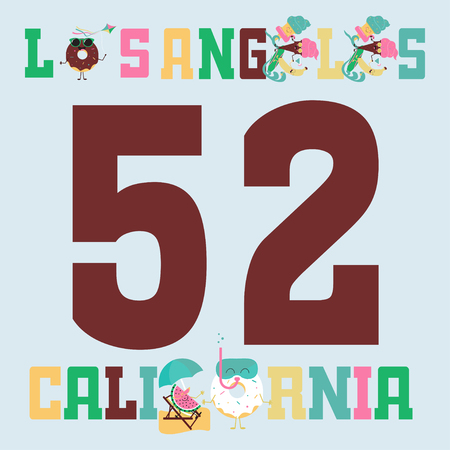 Los Angeles Athletics typography stamp, California t-shirt vector emblem graphics, vintage sport wear design illustration. Color ice cream, fruit and donuts