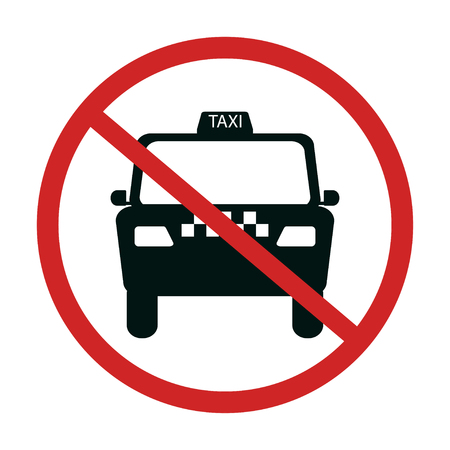 taxi cab with red not allowed symbol - no taxi parking vector illustration
