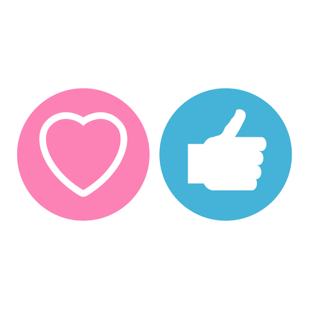 Thumbs up and heart icons in flat style vector illustration design