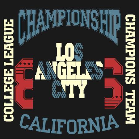 Los Angeles Athletics typography stamp, California t-shirt