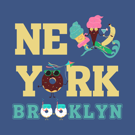 New York Brooklyn Sport wear typography emblem, t-shirt  print, athletic apparel design vector illustration team Summer sweets. Color ice cream and fruit Imagens