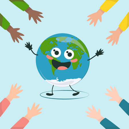 Friendly hands are drawn to the happy world. Earth Day. Save the nature. Ecology concept