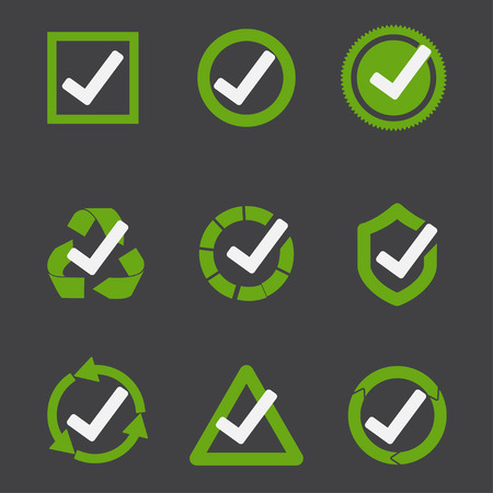 Green tick mark. Check mark icon. Tick sign. Green sign approval isolated on black background. Vector Çizim