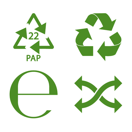 Green recycle and packaging icon set vector design