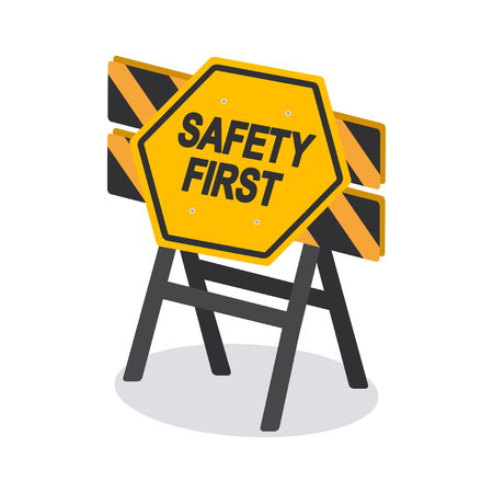 Safety First hexagon shape industrial sign on banner vector design