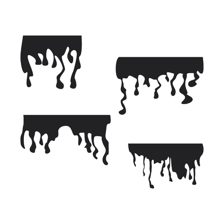 Black dripping stain set. Oil, sauce or paint current silhouettes vector design Çizim
