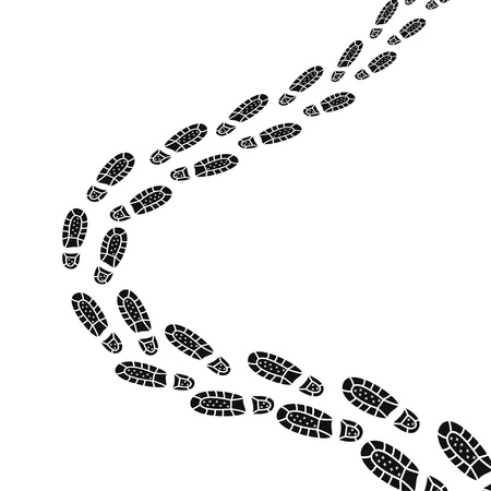 Black footprints silhouette of pathway. Human trail of shoe design